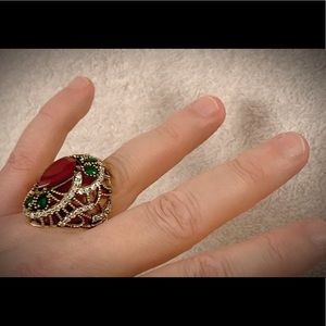 RUBY EMERALD GEM RING SIZE 8 Solid 925 Silver/Gold